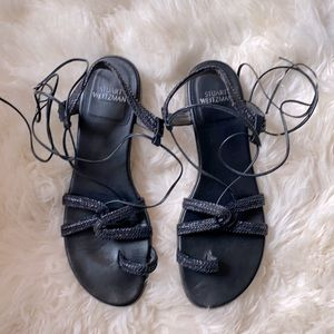 Stuart Weitzman Black Gladiator Sandals 9.5